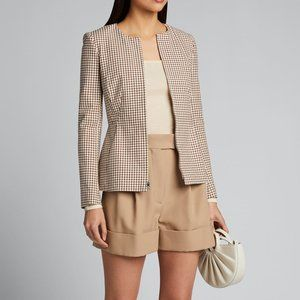 NWT Theory Brown Check Zip Jacket